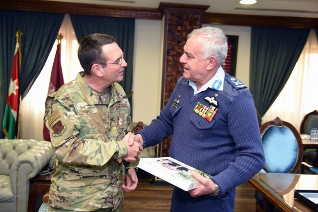 Air Force Gen. Joseph Lengyel, chief, National Guard Bureau, meets with Maj. Gen. Yousef Al-Hnaity, commander, Royal Jordanian Air Force, during a visit to the Hashemite Kingdom of Jordan, Feb. 7, 2019.