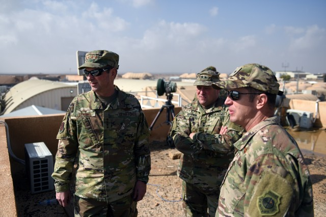 Air Force Gen. Joseph Lengyel, chief, National Guard Bureau, left, and Army Maj. Gen. David Baldwin, adjutant general, California National Guard, center, are briefed on joint training between the U.S. and Jordan's border guard forces during a visit to the Hashemite Kingdom of Jordan, Feb. 8, 2019.