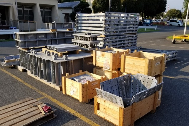A span junction set for a Mabey Logistic Support Bridge system sits ready for inventory and storage at the Sagami General Depot Care of Supplies in Storage staging area in September 2017.