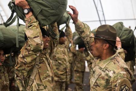 Drill sergeants welcome new Soldiers at Fort Leonard Wood, Mo., for Initial Entry Training, Jan. 29, 2019.