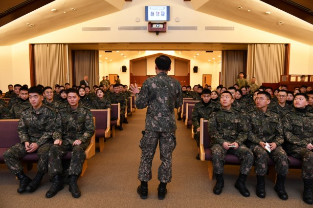 CAMP HUMPHREYS, Republic of Korea - Korean Military Academy cadets begin their winter internship with a welcome brief from Brig. Gen. Kim, Yong Chul, Gangwon-do native, deputy commanding general, Republic of Korea 2nd Infantry Division/ROK-U.S. Combined Division, at Pacific Victors Chapel Feb. 12. The KMA winter internship, originally established in 2016, allows cadets to work side-by-side with their American counterparts throughout 2ID/RUCD while practicing their English skills, broadening their understanding of combined operations, experiencing a foreign culture, and ultimately creating new bonds, Feb. 12-20.