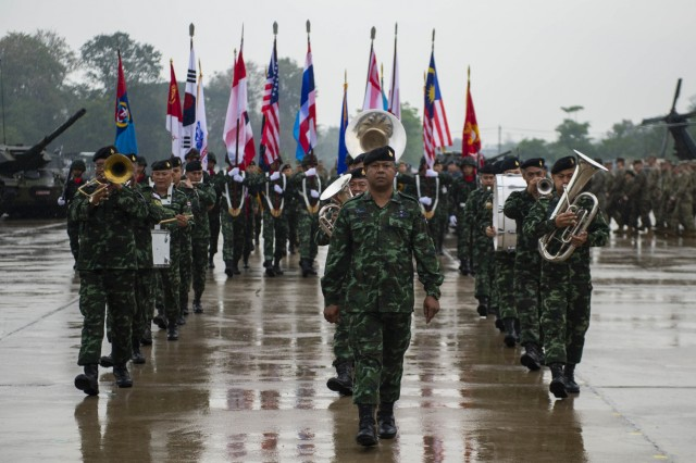 190212-N-ZH960-1193 Phitsanulok, Kingdom of Thailand (12 February, 2019) - Service members march to formation for the opening ceremony of exercise Cobra Gold 19 at Phitsanulok, Kingdom of Thailand, Feb. 12, 2019. Cobra Gold is one of the largest theater security cooperation exercises in the Indo-Pacific and is an integral part of the U.S. commitment to strengthen engagement in the region. Cobra Gold 19, the 38th iteration of this exercise, emphasizes coordination on civic action, such as humanitarian assistance and disaster relief, seeking to expand regional cooperation and collaboration in these vital areas. (U.S. Navy Photo by Mass Communication Specialist 2nd Class Andrew P. Holmes / Released)