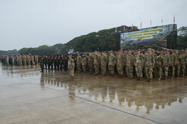 190212-N-ZH960-1269 Phitsanulok, Kingdom of Thailand (12 February, 2019) - Exercise participants stand in formation for the opening ceremony of exercise Cobra Gold 19 at Phitsanulok, Kingdom of Thailand, Feb. 12, 2019. Cobra Gold is one of the largest theater security cooperation exercises in the Indo-Pacific and is an integral part of the U.S. commitment to strengthen engagement in the region. Cobra Gold 19, the 38th iteration of this exercise, emphasizes coordination on civic action, such as humanitarian assistance and disaster relief, seeking to expand regional cooperation and collaboration in these vital areas. (U.S. Navy Photo by Mass Communication Specialist 2nd Class Andrew P. Holmes / Released)