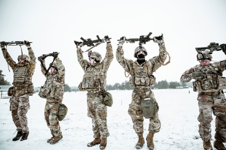 """Spur candidates from U.K., Romania, Croatia, Poland and U.S. must complete multiple Soldier tasks while cold, tired, and hungry to earn their silver-spurs in a Calvary Unit rite of passage called a Spur Ride. The tradition of having to """"earn your spurs"""" reaches back to the beginning of the American Cavalry."""