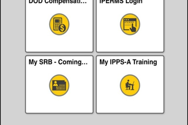 The IPPS-A mobile app Self-Service landing page (pictured)