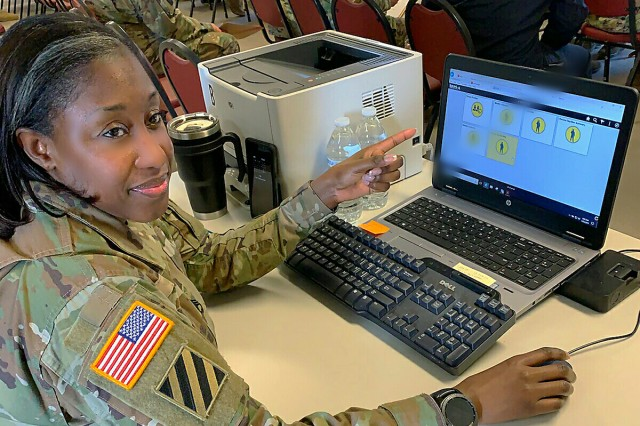 Staff Sgt. Shawnta Gloria Bynum, Integrated Personnel and Pay System -- Army (IPPS-A) Limited User Test (LUT) NCOIC with the U.S. Army Operational Test Command's Mission Command Test Directorate, shows the different points of data entry of the new IPPS-A personnel and pay system. The Limited User Test (LUT) is taking place and spread out over six Pennsylvania cities, which include Scranton, Wilkes-Barre, Harrisburg, Allentown, Horsham, and Philadelphia, which includes 11 user locations and 17 user sites, replicating the way IPPS-A would be used on a battlefield.