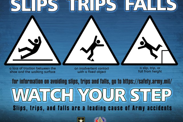 A poster from the U.S. Army Combat Readiness center warns against the hazards of slips, trips and falls.