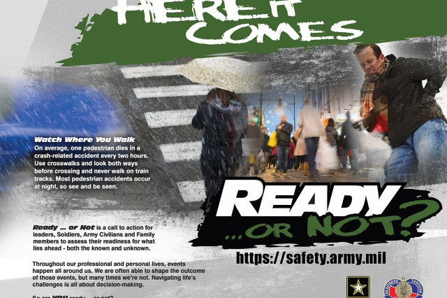 A U.S. Army Combat Readiness Center poster warns against winter walking hazards.