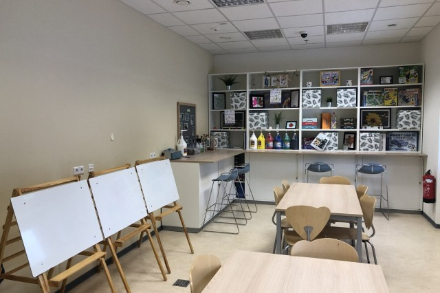The new Sembach School Age Center includes a variety of rooms with different learning activities. In the Messy Mania room, students participate in arts and crafts and science projects.