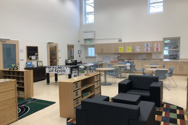 The atrium at Sembach School Age Center provides a snack area, tabletop games and social recreation.