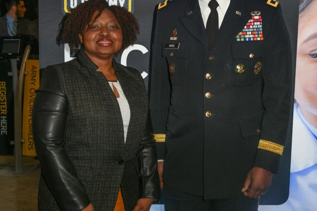 Anita Perkins, the technical lead for the Army Combat Boot Improvement effort and a footwear research engineer at the CCDC Soldier Center, addressed students at this year's Black Engineer of the Year Awards -- Science, Technology, Engineering and Math Conference held recently in Washington, D.C. Perkins -- who is pictured here at the conference with Major General Cedric T. Wins, commanding general of the U.S Army Combat Capabilities Development Command -- believes the conference is a great opportunity to give back to young people. Perkins herself was hired by the CCDC Soldier Center (formerly NSRDEC) at a BEYA event.