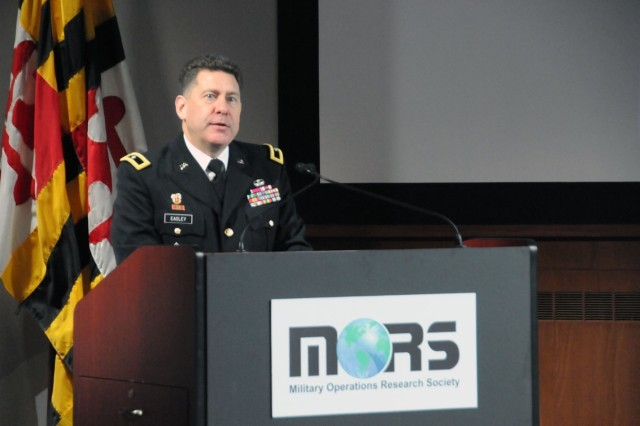 U.S. Army Brig. Gen. Matthew Easley, director of Army Artificial Intelligence within Army Futures Command, speaks at the Military Operations Research Society (MORS) Artificial Intelligence and Autonomy workshop at Johns Hopkins Applied Physics Laboratory in Laurel, Md., on Feb. 12, 2019.