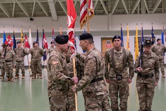 The U.S. Army Engineer School at Fort Leonard Wood welcomed Regimental Command Sgt. Maj. Douglas Galick back to the installation during an assumption of responsibility ceremony held Tuesday in Nutter Field House.