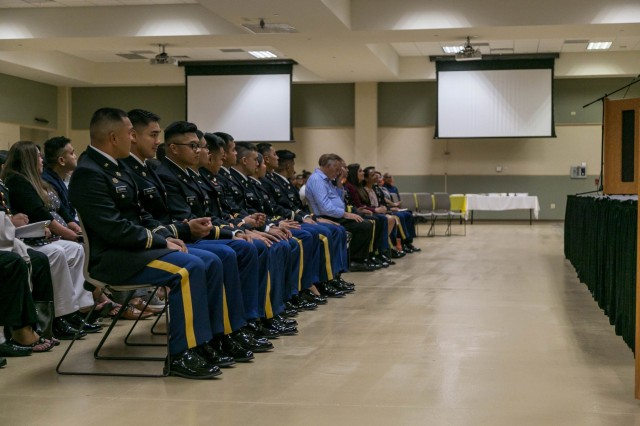 Cadets of the University of Guam's U.S. Army Reserve Officer Training Corps wait to be commissioned officers during a commissioning ceremony on Guam (U.S. Army Photo)