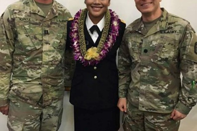 Cpt. Jared Kuntz (left) and Lt. Col. Johannes Castro (right) pose for a photo with newly commissioned U.S. Army 2nd Lt. Joyce Boarj, during her commissioning ceremony on Guam. (U.S. Army Photo)