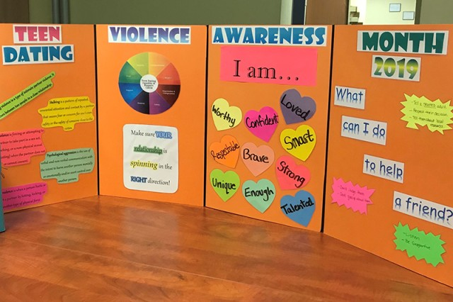 The Army Community Service Family Advocacy Program at U.S. Army Garrison Bavaria is raising awareness on teen dating violence by visiting with Vilseck High School, Netzaberg Middle School and the teen centers on Tower and Rose Barracks during the month of February, and providing information about teen violence through resource pamphlets and scenario-based events.