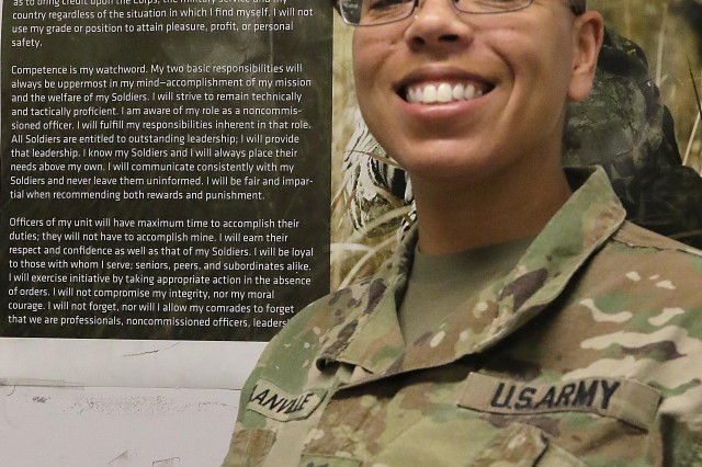 Sgt. 1st Class Joanne Glanville, a 17-year Chemical, Biological, Radiological, and Nuclear specialist, works in the Resolute Support Sustainment Brigade's S-3 (Operations) while deployed. She is now a graduate of the Battle Staff Noncommissioned Officer Course, Bagram Airfield, Afghanistan. Glanville will now redeploy back to the Fort Campbell, Kentucky, 101st Airborne Division. (Photo by Jon Micheal Connor, Army Public Affairs)