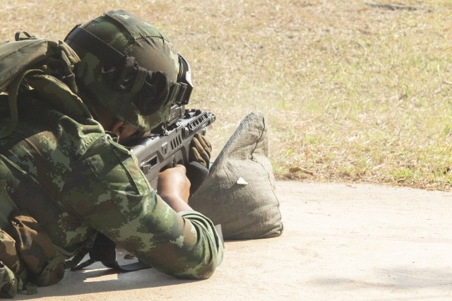 A Royal Thai Army soldier fires his weapon during basic rifle marksmanship Feb. 13, 2019, at Camp Barommatrailokkanat, Thailand. Soldiers from both the U.S. and Thailand learned each other's techniques for firing weapons to gain a shared understanding of how each army operates. This was part of Cobra Gold, an exercise designed to increase cooperation, interoperability and collaboration among partner nations in order to achieve effective solutions to common challenges.
