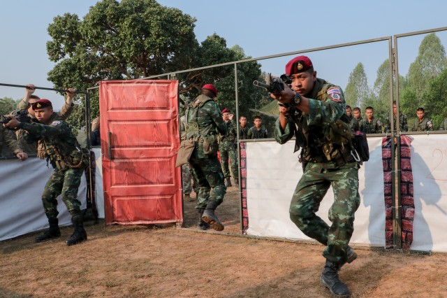 Royal Thai Army soldiers demonstrate room clearing following U.S.-Thai armies combined military operations in urban terrain (MOUT) training for Cobra Gold 2019, Feb. 13, 2019, Phitsanulok, Kingdom of Thailand. Exercise Cobra Gold is the largest Theater Security Cooperation Exercise in the Indo-Pacific and is an integral part of the U.S. commitment to strengthen engagement in the region.