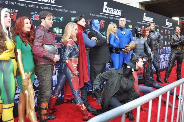 "Marvel Comic cosplayers pose for pictures on the Red Carpet prior to the start of ""Excelsior! A Celebration of the Amazing, Fantastic, Incredible and Uncanny Life of Stan Lee"" Jan. 30 at the TCL Chinese Theatre in Hollywood, Calif. The event was a memorial tribute to Stan Lee, Marvel comic book writer, editor, publisher and co-creator, who died in November 2018. Lee was an Army veteran and former writer in the U.S. Army Signal Corps during World War II."