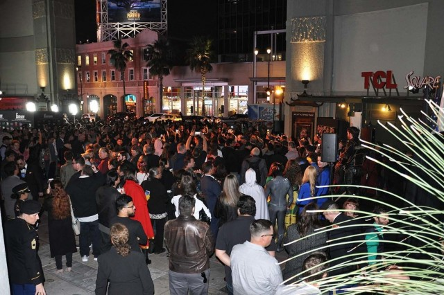 "Crowds of people gather in the TCL Chinese Theatre Courtyard in Hollywood during ""Excelsior! A Celebration of the Amazing, Fantastic, Incredible and Uncanny Life of Stan Lee"" Jan. 30 at the TCL Chinese Theatre in Hollywood, Calif. The event was a memorial tribute to Stan Lee, Marvel comic book writer, editor, publisher and co-creator, who died in November 2018. Lee was an Army veteran and former writer in the U.S. Army Signal Corps during World War II."
