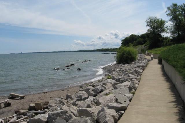 A protected shoreline along Lake Erie.