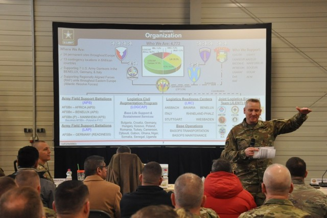 Col. Grant L. Morris, commander 405th Army Field Support Brigade, explains the Army Prepositioned Stock drawing and turn-in process during the brigade-led predeployment sites survey at Coleman Work Site, Mannheim, Germany, Feb. 4.