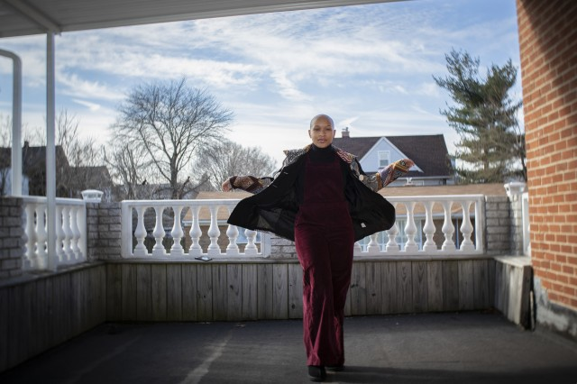 U.S. Army Spc. Imani Gayle, a Motor Transport Operator with the New Jersey National Guard's 2-113th Infantry Regiment, poses for a portrait in Irvington, N.J., Jan. 17, 2019. Gayle has Alopecia, a skin condition that causes baldness. Gayle, a part-time fashion model, is studying biology pre-med and hopes to one day be a dermatologist.