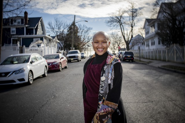 U.S. Army Spc. Imani Gayle, a Motor Transport Operator with the New Jersey National Guard's 2-113th Infantry Regiment, poses for a portrait in Irvington, N.J., Jan. 17, 2019. Gayle has Alopecia, a skin condition that causes baldness. Gayle, a part-time fashion model, is studying biology pre-me(U.S. Air National Guard photo by