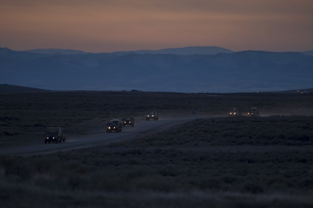 Soldiers from the 116th CBCT Signal Corps, Idaho Army National Guard take to the Orchard Combat Training Center for a field exercise in February.