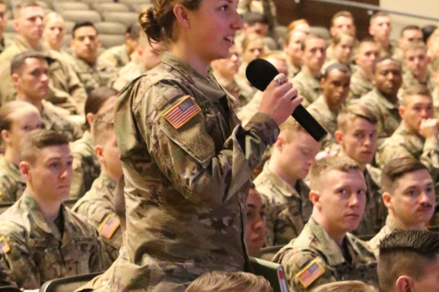 ROTC and West Point Cadets from across the country had the opportunity to ask Maj. Gen. John Evans, commander of U.S. Army Cadet Command, questions during the 2019 George C. Marshall Seminar at Fort Leavenworth, Kansas Feb. 11.