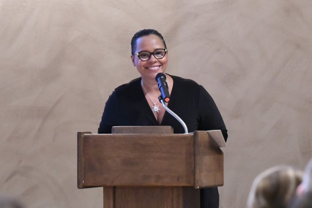 The Fort Drum community welcomed Ty Stone, president of Jefferson Community College, as the guest speaker for the annual African American/Black History Month observance Feb. 20 at the Commons. (Photo by Mike Strasser, Fort Drum Garrison Public Affairs)