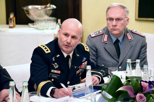MUNICH, Germany (Feb. 17, 2019) - U.S. Army Europe Commanding General Lt. Gen. Christopher Cavoli gives his thoughts during the German and U.S. perspectives on future alliance evolution at the Loisach Group side event at the Munich Security Conference 2019 Feb. 17 here. (DOD photo by German air force Senior Master Sgt. Mark Winkler/RELEASED)