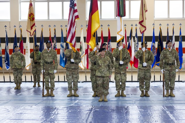Command Sgt. Maj. Samara Pitre took the reins as IMCOM-Europe's senior enlisted leader during a change-of-responsibility ceremony held Feb. 21, 2019, in Sembach, Germany.