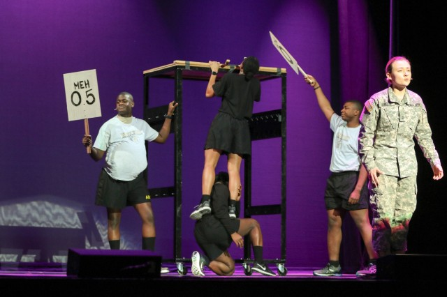 Class of 2019 cadets perform during the annual 100th Night Show, which is an original production that covers major events and memories from their time at West Point. (U.S. Army Photo by Brandon O'Connor)