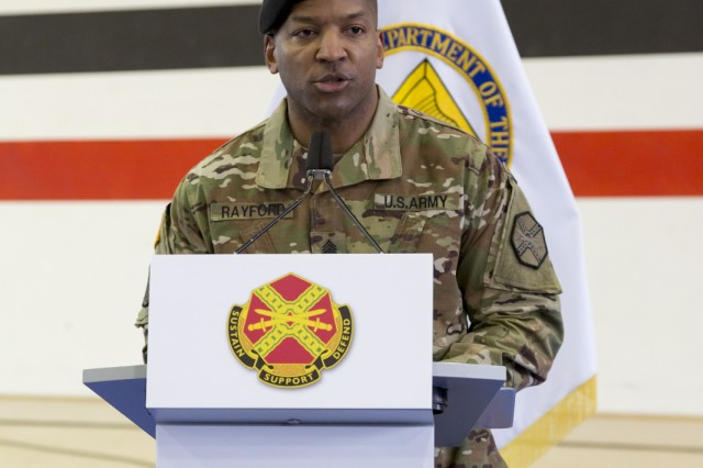 Outgoing IMCOM-Europe Command Sgt. Maj. Ulysses Rayford addresses attendees during the organization's change-of-responsibility ceremony held Feb. 21, 2019, in Sembach, Germany.