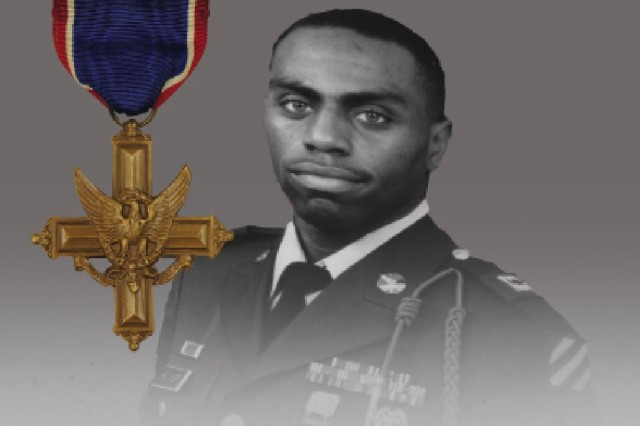 "Staff Sgt. Stevon A. Booker, a 3rd Infantry Division Soldier who was assigned to Company A, 1st Battalion, 64th Armor Regiment and killed in action in Iraq in 2003, is depicted in a photo illustration alongside the Distinguished Service Cross medal, which he is slated to posthumously receive for his heroic actions during Operation Iraqi Freedom, April 5 in Pittsburgh, Pa. Now famously known as ""Thunder Run,"" Booker's unit led an offensive armored-attack into Baghdad on April 5, 2003 -- subsequently resulting in the collapse of the Saddam Hussein government."