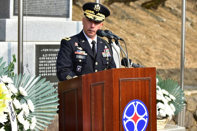 CHIPYONG-NI, Republic of Korea -- Brig. Gen. Stephen J. Maranian, guest speaker and deputy commanding general-maneuver, 2nd Infantry Division/ROK-U.S. Combined Division, addresses a diverse group of Soldiers, past and present, distinguished guests and friends during the 68th anniversary ceremony for the Battle of Chipyong-ni at Chipyong-ni Combat Monument and Memorial Hall, Feb. 21. (U.S. Army Photo by Pak, Chin U., 2ID/RUCD Public Affairs)
