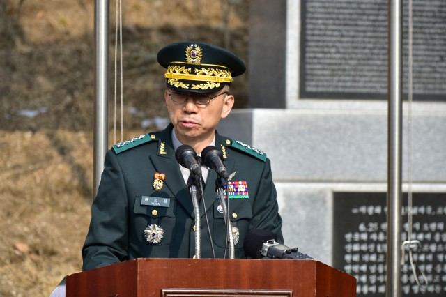 CHIPYONG-NI, Republic of Korea -- Lt. Gen. Yoon, Eui Cheol, commanding general, 7th Corps, Republic of Korea-Army, speaks about an historical turning point of the Korean War during the 68th anniversary commemoration for the Battle of Chipyong-ni at the Chipyong-ni Combat Monument and Memorial Hall, Feb. 21. Yoon presided over the event which highlighted the three-day battle in February 1951. (U.S. Army Photo by Pak, Chin U., 2ID/RUCD Public Affairs)