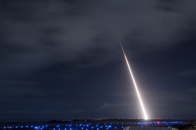 A target missile launches from the Pacific Missile Range Facility in Kauai, Hawaii, Oct. 26, 2018, before intercepting its target during a test.