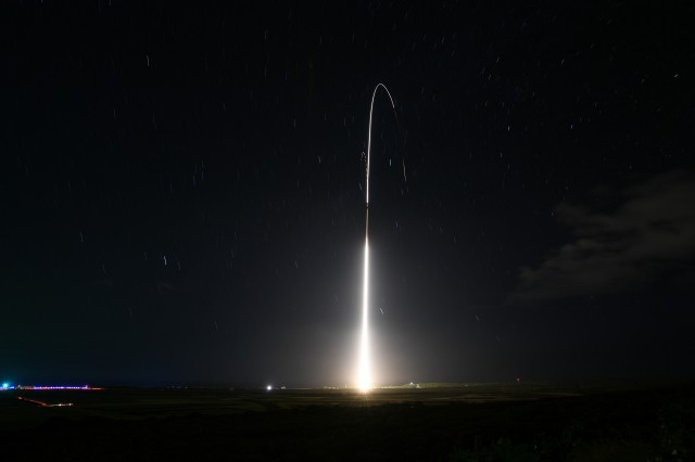 A Standard Missile 3 Block IIA launches from the Aegis Ashore Missile Defense Test Complex at the Pacific Missile Range Facility in Kauai, Hawaii, Dec. 10, 2018, during a test to intercept an intermediate-range ballistic missile target in space.