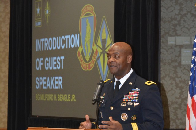 """Brig. Gen. Milford H. """"Beags"""" Beagle Jr., Fort Jackson commander, left, introduces the guest speaker of the 2019 African American/Black History Month Luncheon Feb. 14. Columbia's first and current African American mayor, Steve Benjamin, spoke on this year's theme: black migrations."""
