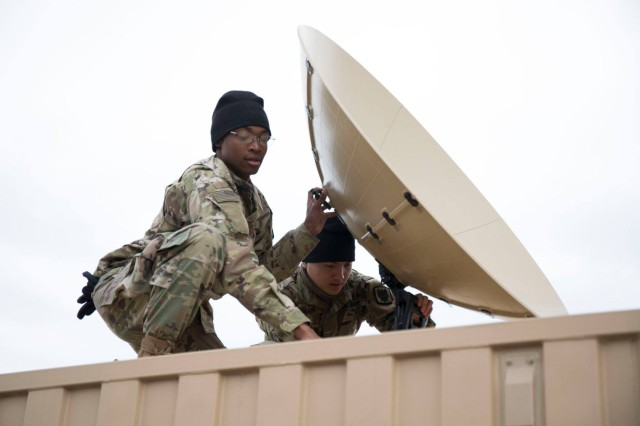 Soldiers from the 50th Expeditionary Signal Battalion-Enhanced (ESB-E) set up a Scout satellite terminal as part of their tactical network transport support to the 1st Theater Sustainment Command Early Entry Command Post training exercise on February 14, 2019, at Fort Campbell, Kentucky.