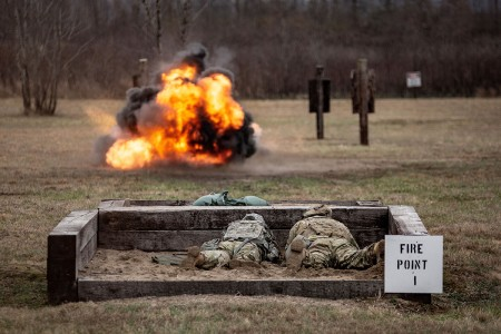 Soldiers of 101st Airborne Division (Air Assault), fire the M18 Claymore mine during range density week at Fort Campbell, Ky., Jan. 14, 2018.