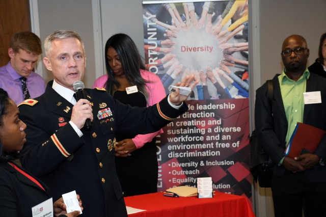 The U.S. Army Corps of Engineers Chicago District hosted a Business Opportunities Open House Feb. 20 for large and small firms, nonprofit agencies, higher education institutions, and partners to meet District leadership, Program Managers, Project Engineers, Contracting, Small Business, and other District personnel to discuss upcoming projects, solicitations, and business opportunities. (U.S. Army photo by Patrick Bray/Released)