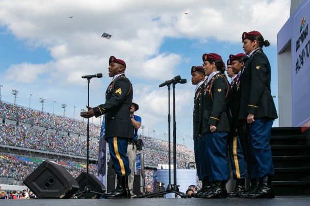 The 82nd Airborne Division Chorus performs for the 61st Annual Daytona 500 crowd at Daytona International Speedway in Fla., Feb. 17, 2019. The All American Chorus has performed across the world since 1967, spreading Paratrooper honor and pride through music.