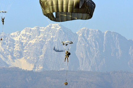 Paratroopers descend onto Juliet Drop Zone, Pordenone, Italy, Feb. 13, 2019. The 173rd Airborne Brigade is the U.S. Army Contingency Response Force in Europe, capable of projecting ready forces anywhere in the U.S. European, Africa or Central Commands' areas of responsibility.