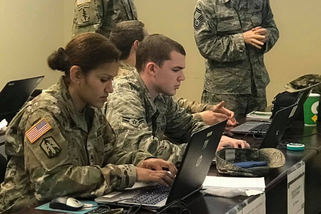 Teams composed of Soldiers and Airmen work together to solve complex contracting problems and fulfill commanders' requirements during the second annual Joint Contracting Exercise-19 conducted Feb. 11-13 at Fort Bragg, North Carolina.