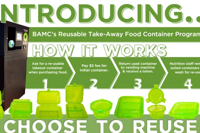 Brooke Army Medical Center Department of Nutritional Medicine is implementing a new reusable container option at the dining areas throughout the hospital. Patrons now can choose to use a reusable plastic container when getting food at a dining area within the hospital. The containers can hold anything from classic fare meals to soup, salad or pizza.