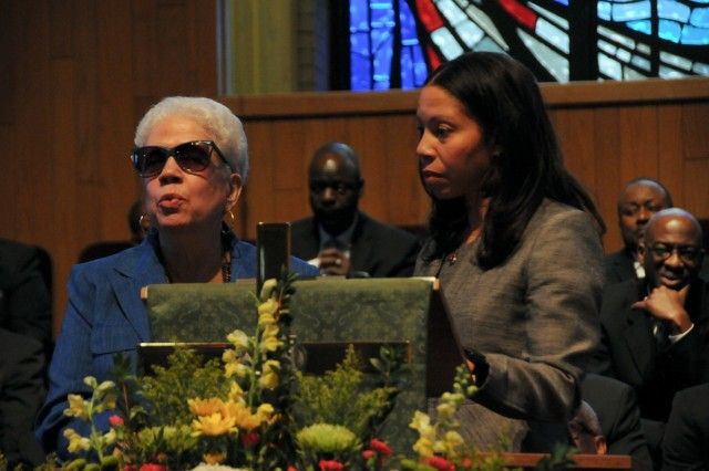 Marla L. Andrews (left), daughter of U.S. Army Air Forces Capt. Lawrence E. Dickson, delivers remarks during a Feb. 24 ceremony held at Fountain Baptist Church in Summit, N.J., to recognize her father's military service. Dickson was a Tuskegee Airman declared missing in action after his plane crashed in Europe in Dec. 1944. Dickson's remains were identified in Nov. 2018 using the latest DNA tests, making him the first to be identified out of more than two-dozen Tuskegee Airmen declared MIA during World War II.